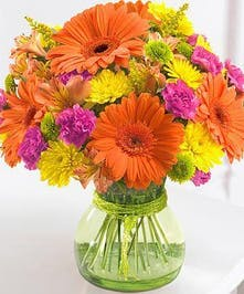Cheerful gerberas and bright buttons are a great way to brighten a day!