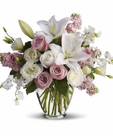 Delicate lavender and white blooms express an elegant feel