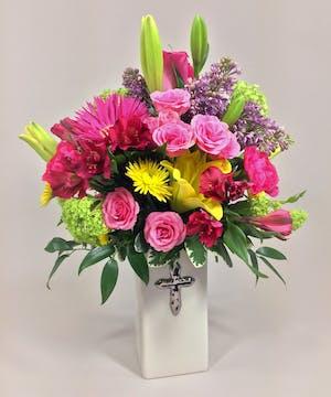 Bright vibrant colors of spring shine in this pretty design!