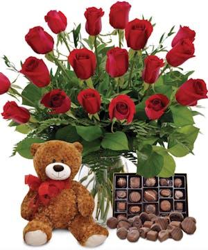 Roses, Bear,  Chocolates