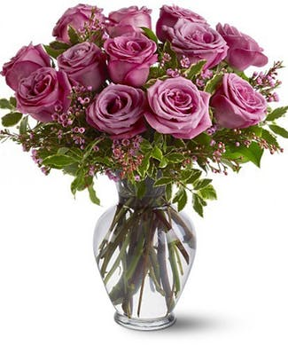 A Dozen Lavender Roses