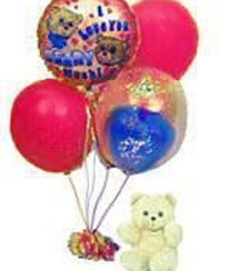 Balloon Bouquet With Teddy Bear Included