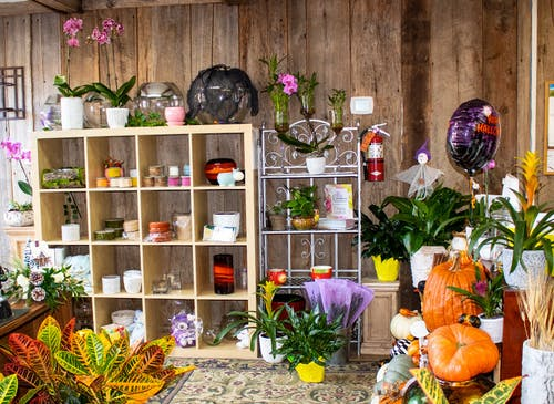 Candles, pottery, pumpkins and balloons in our Alexandria showroom